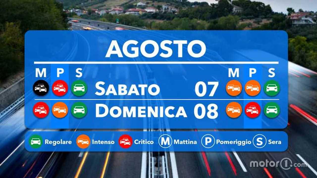Previsioni traffico 7 e 8 agosto 2021