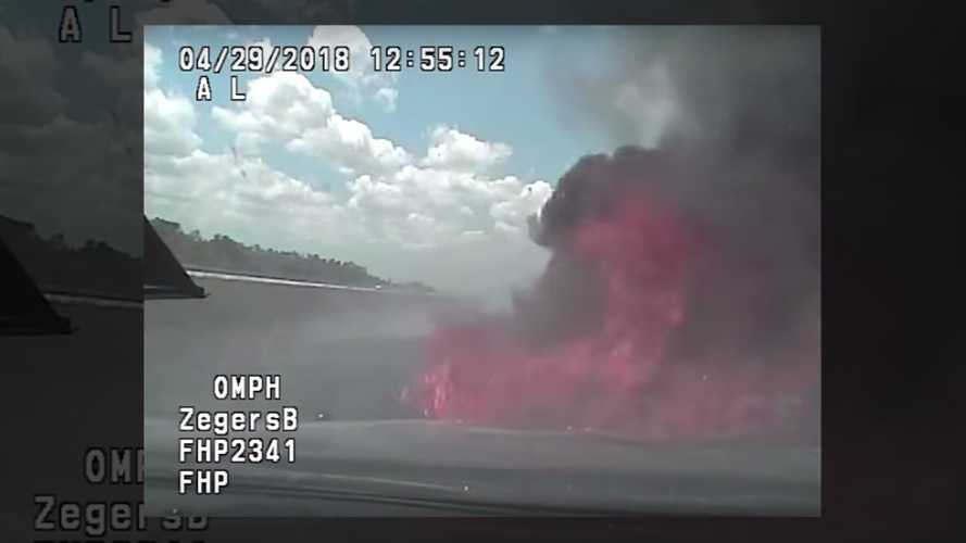 Florida Car Chase Reaches 142 MPH Before Police Cruiser Catches Fire