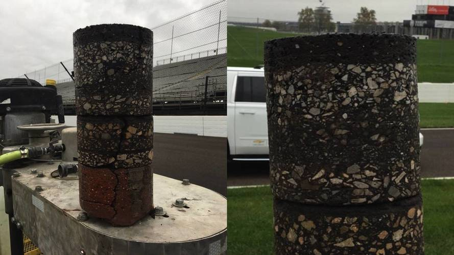 Indy Motor Speedway Core Sample Reveals 108 Years Of Track