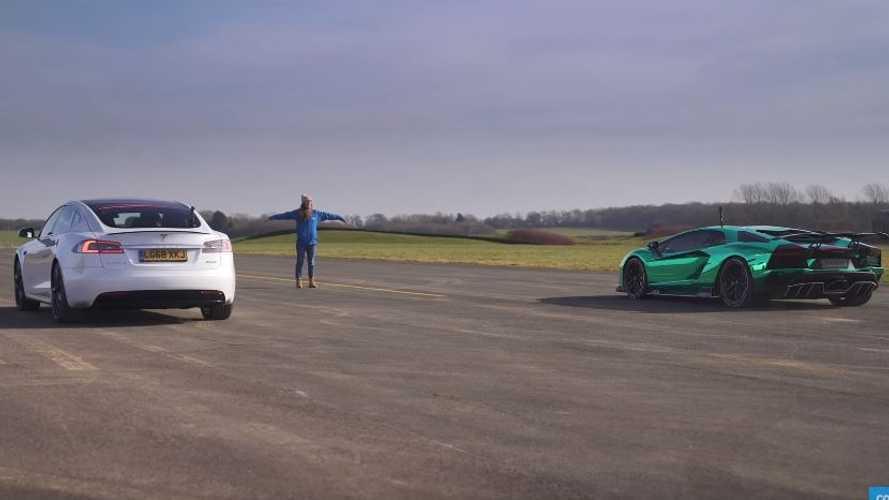 VIDÉO - La Tesla Model S P100D se frotte à la Lamborghini Aventador S