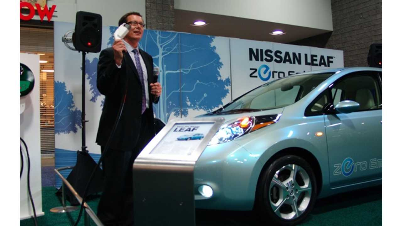The Nissan LEAF Makes Its Debut At The 2010 NAIAS (seen here with Mark Perry, Ex-Director Of Product Planning At Nissan)