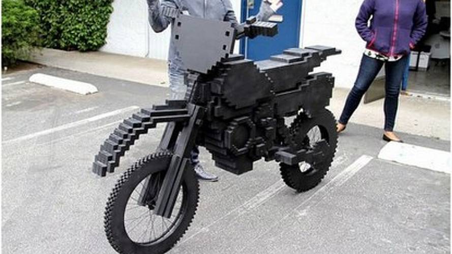 """It's a new record! """"Pixelated"""" Excitebike made of wood"""