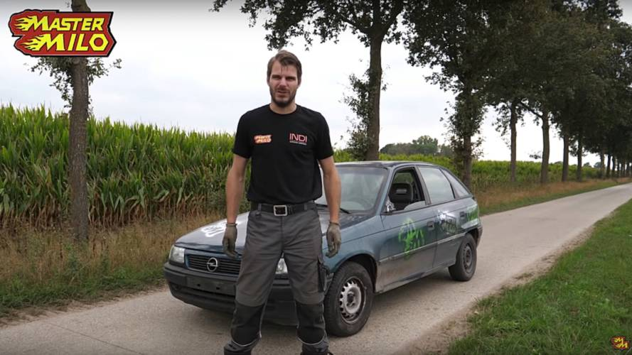 Beat-up Opel Astra abused by switching into reverse at 62 mph