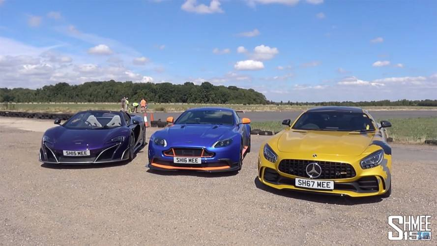 Vantage GT8 pitted against 675LT, AMG GT R in drag race