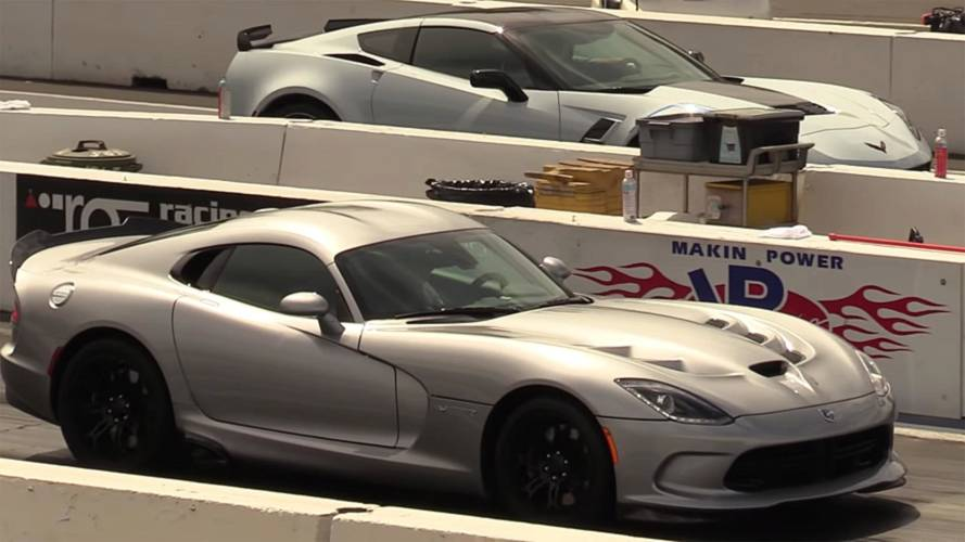 Chevy Corvette Grand Sport Duels Dodge Viper On The Drag Strip