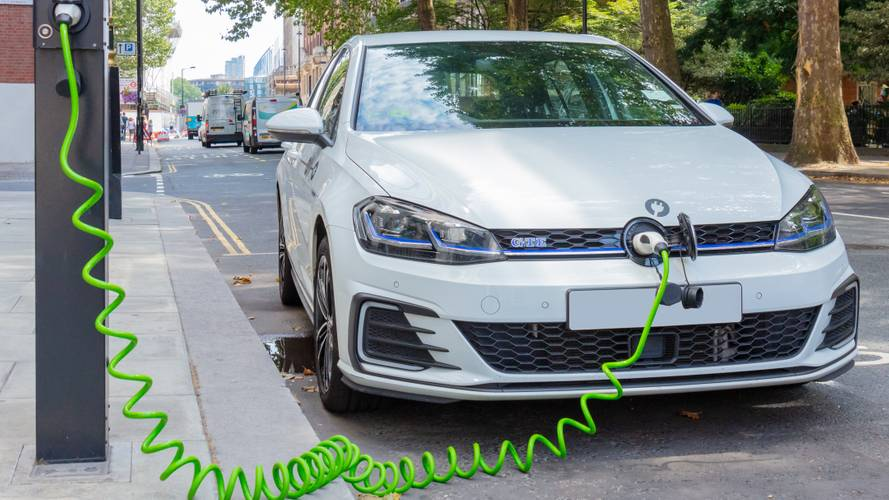 VW Golf GTE plug-in hybrid electric car charging in central London