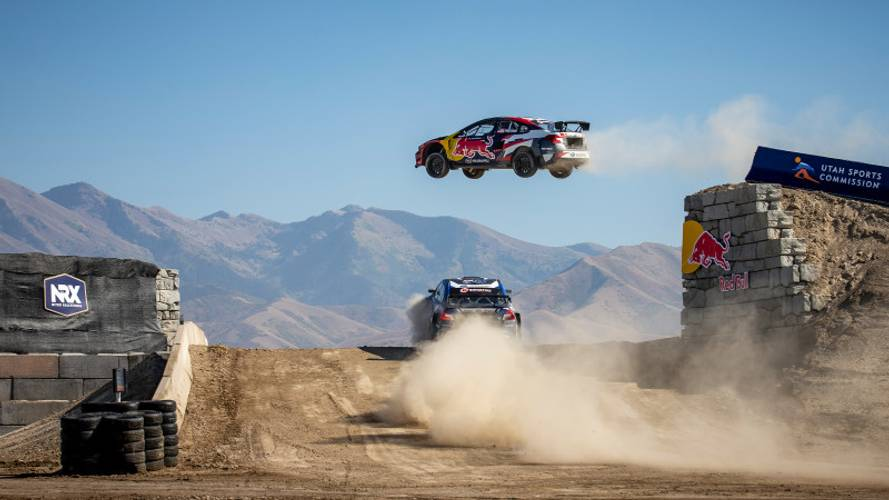 Watch rallycross cars jump 130 feet mid-race