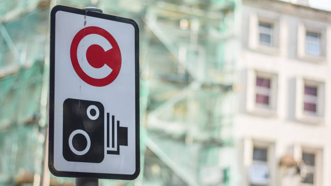 London congestion charge camera sign