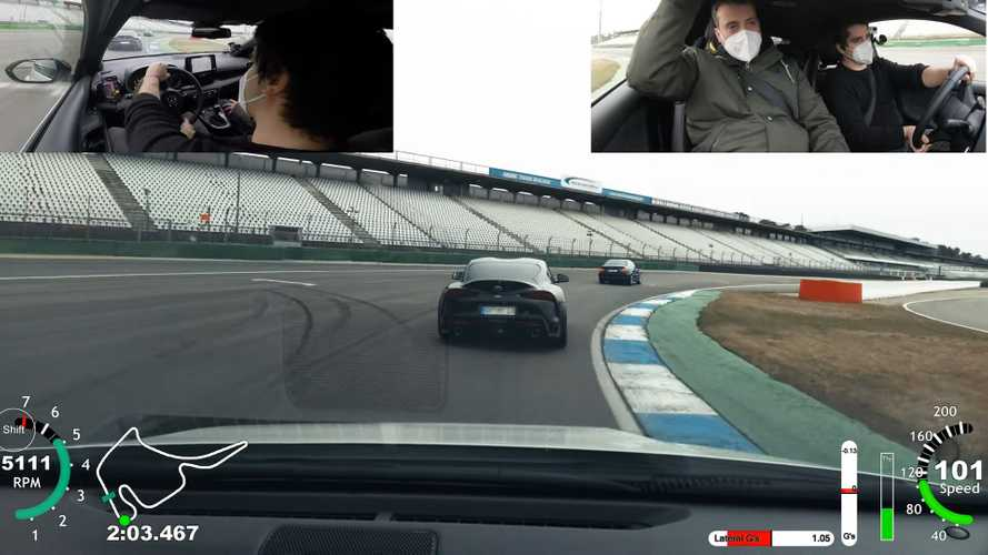 Toyota Supra can't escape GR Yaris while turning laps at Hockenheim