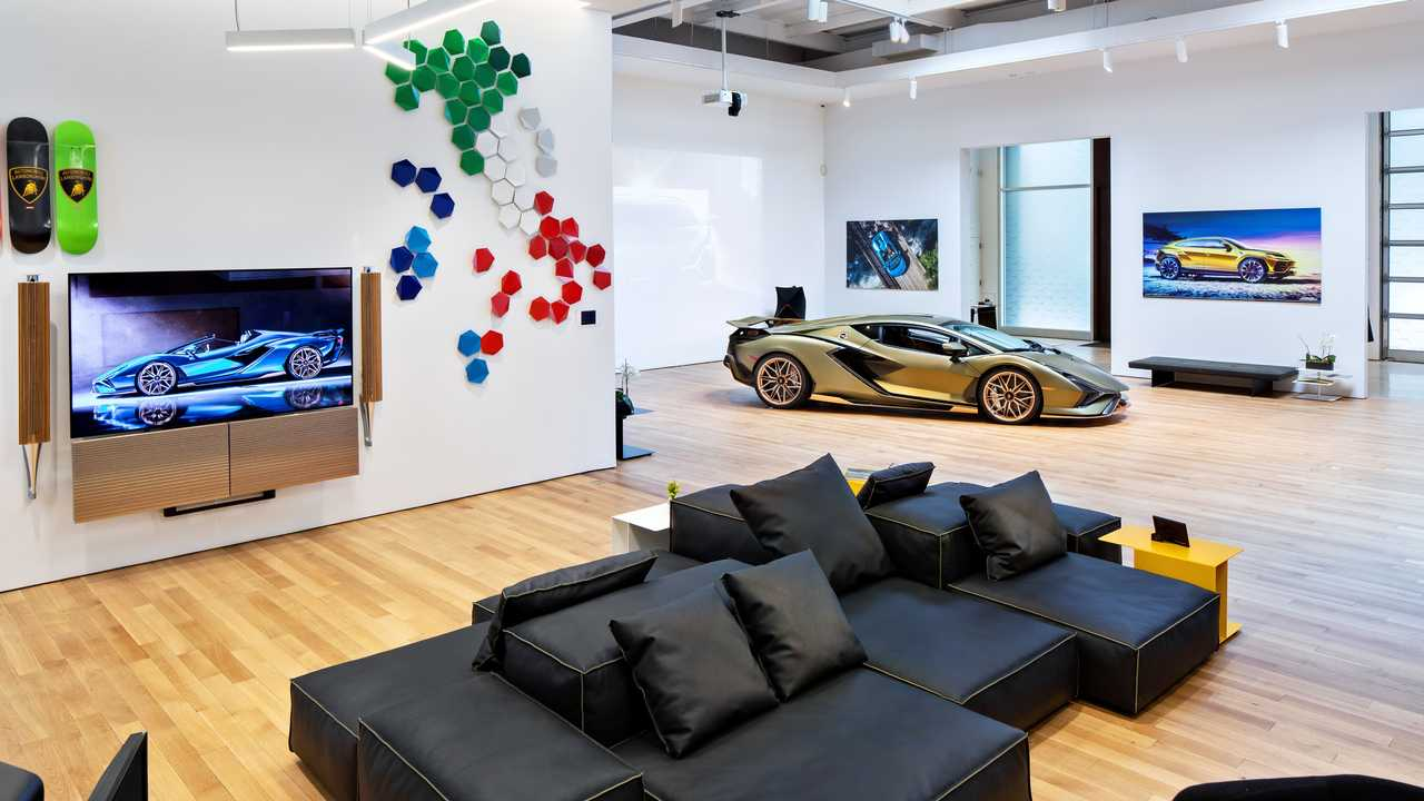 One of the special rooms in the exclusive, invitation-only Lamborghini Lounge in New York City.