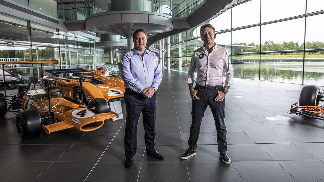Zak Brown, McLaren Racing CEO and Alejandro Agag at Woking UK headquarters