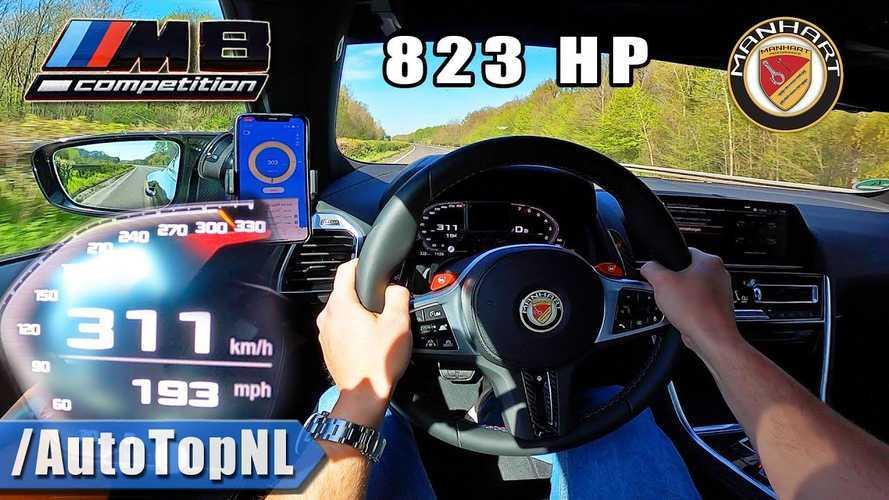 823-bhp Manhart BMW M8 shows blistering speed on empty Autobahn