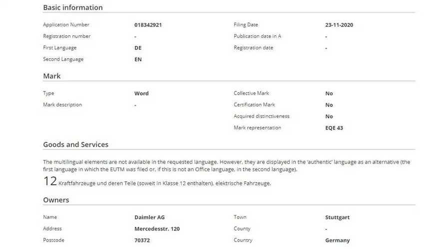 Mercedes EQE 43, EQE 53, EQE 63 isim hakları