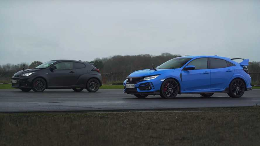Toyota GR Yaris Faces Honda Civic Type R In A Slippery Drag Race