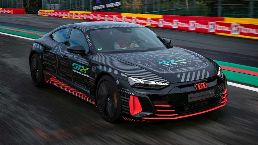 Audi RS E-Tron Poses With R8 LMS Family At Spa In Latest Teaser