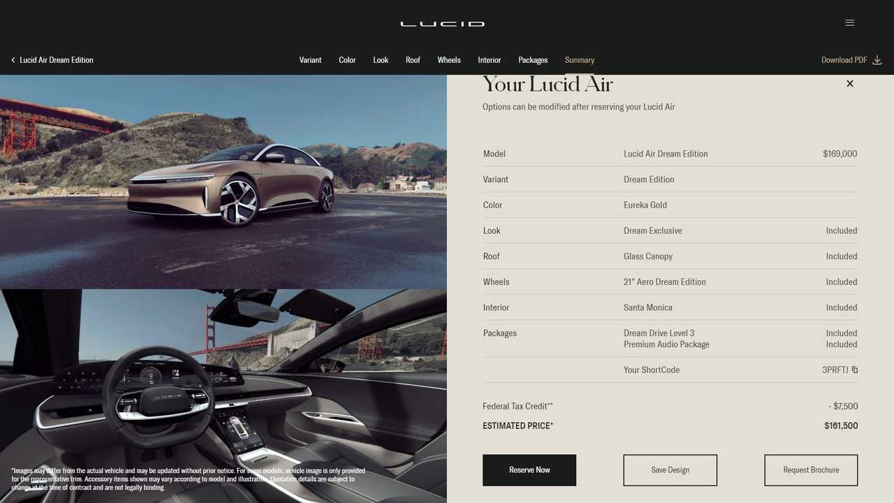 Lucid Air's Configurator Does Not Reveal Packages Pricing