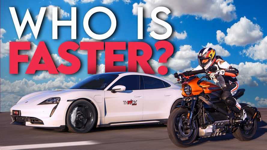 Harley LiveWire goes up against Porsche Taycan on quarter mile