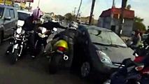 Bikers assaulting Toyota Prius passenger in 2011 04.10.2013