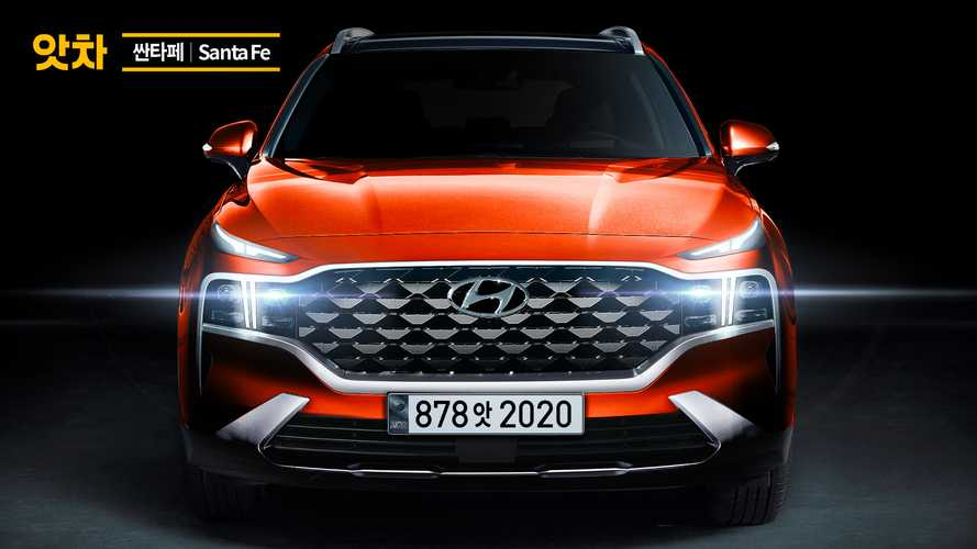 2021 Hyundai Santa Fe rendered based on teaser shows unique front end