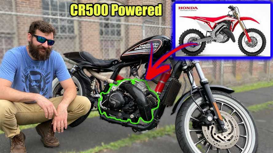 Dude Put A 1993 CR500 Two-Stroke Engine In A Harley 883R