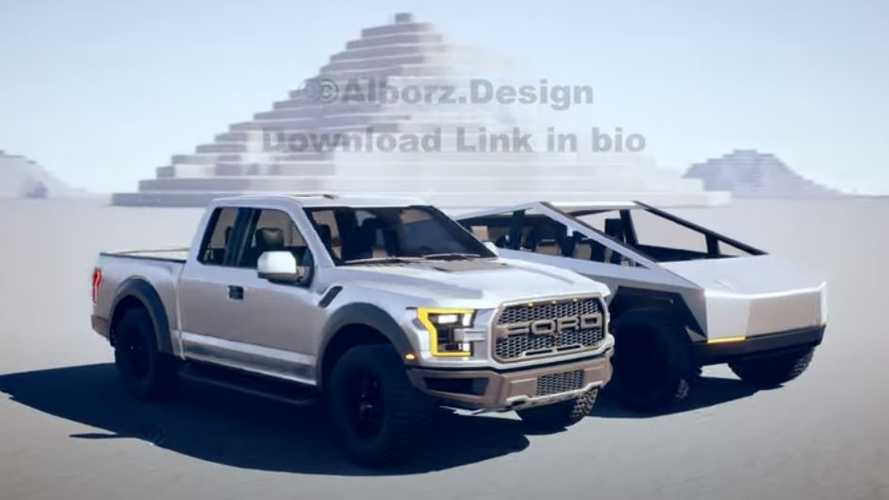 Tesla Cybertruck Next To Ford F-150 Raptor