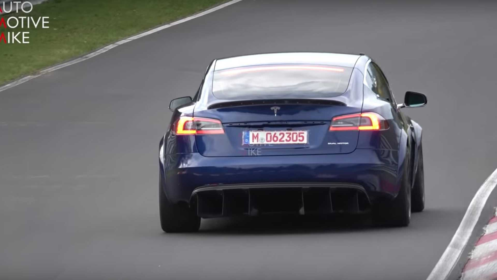 Mean Tesla Model S spied in action at the Nurburgring