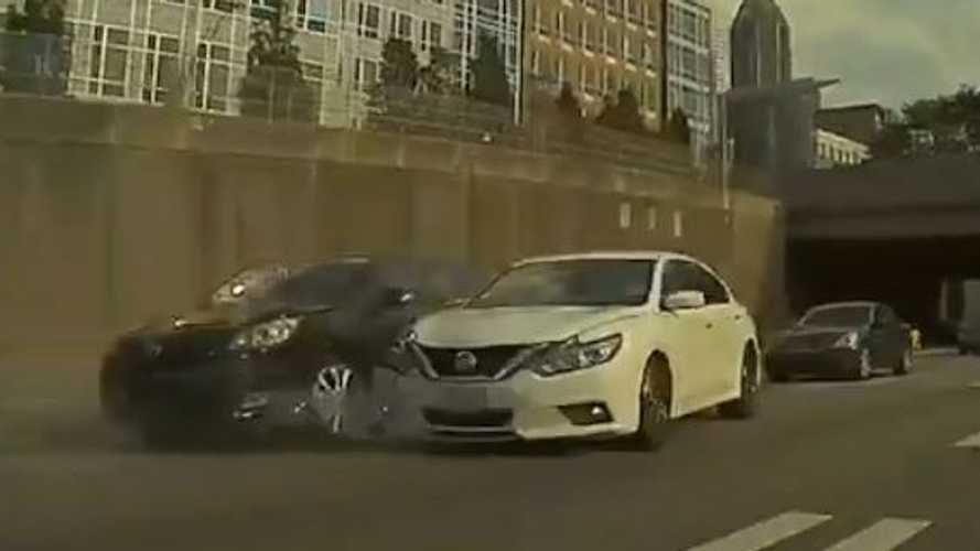 Merging Gone Wrong: Watch Car Merge Into Truck Then Spin Out Of Control