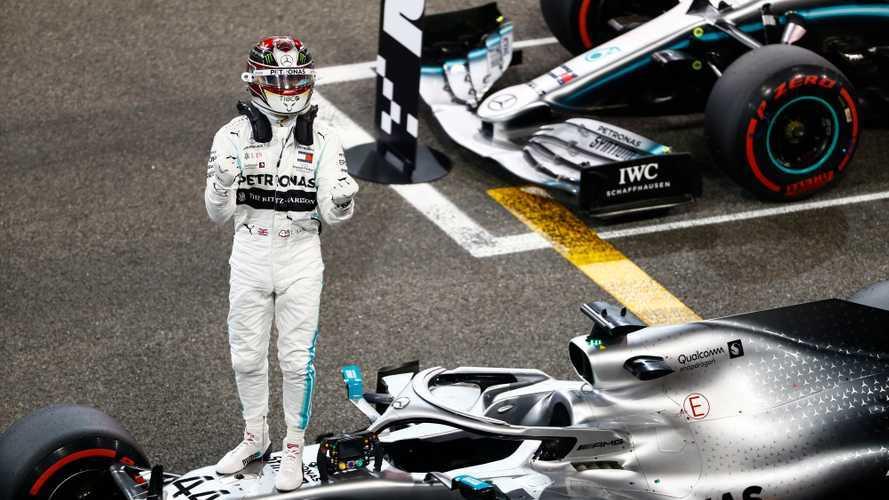 Lewis Hamilton, Mercedes AMG F1, celebrates taking pole position