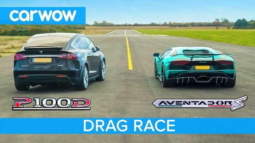 Watch Tesla Model X P100D Race Lamborghini Aventador