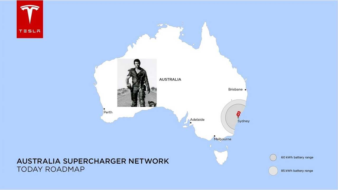 Tesla-Made Australia Supercharging Map Today (Mad Max not withstanding)