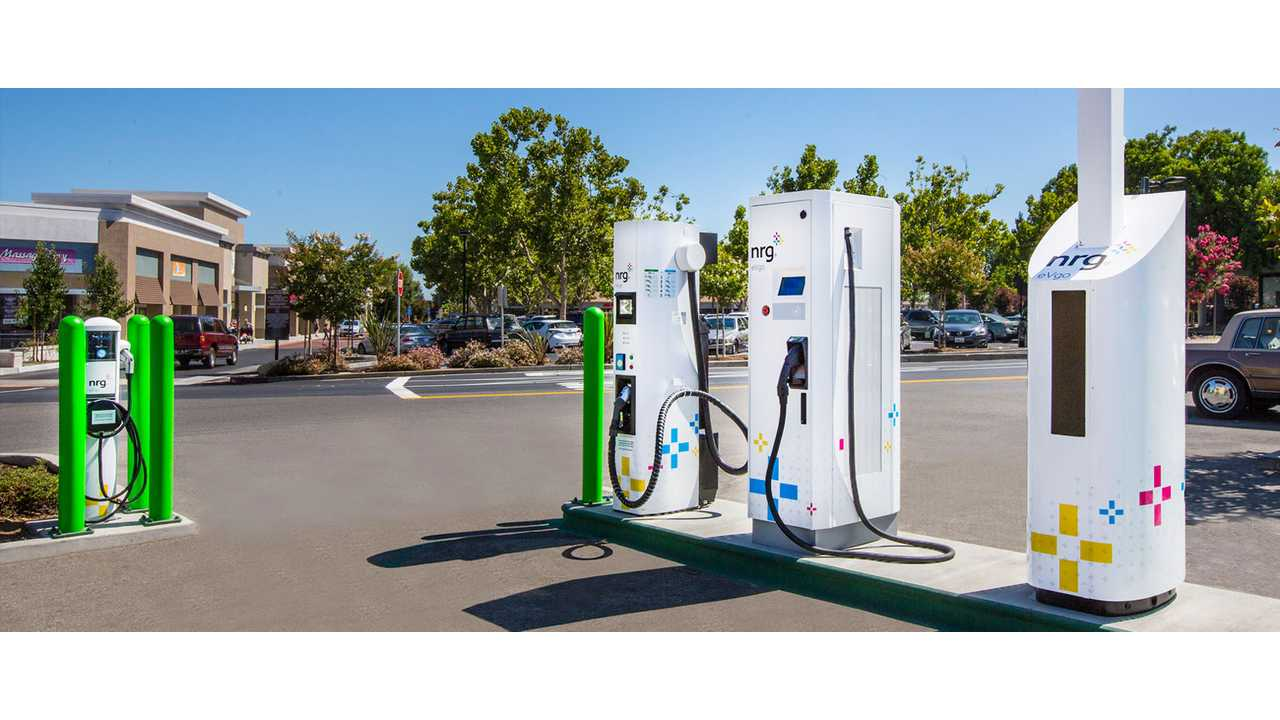 NRG EVgo fast charging station with Level 2 AC on side