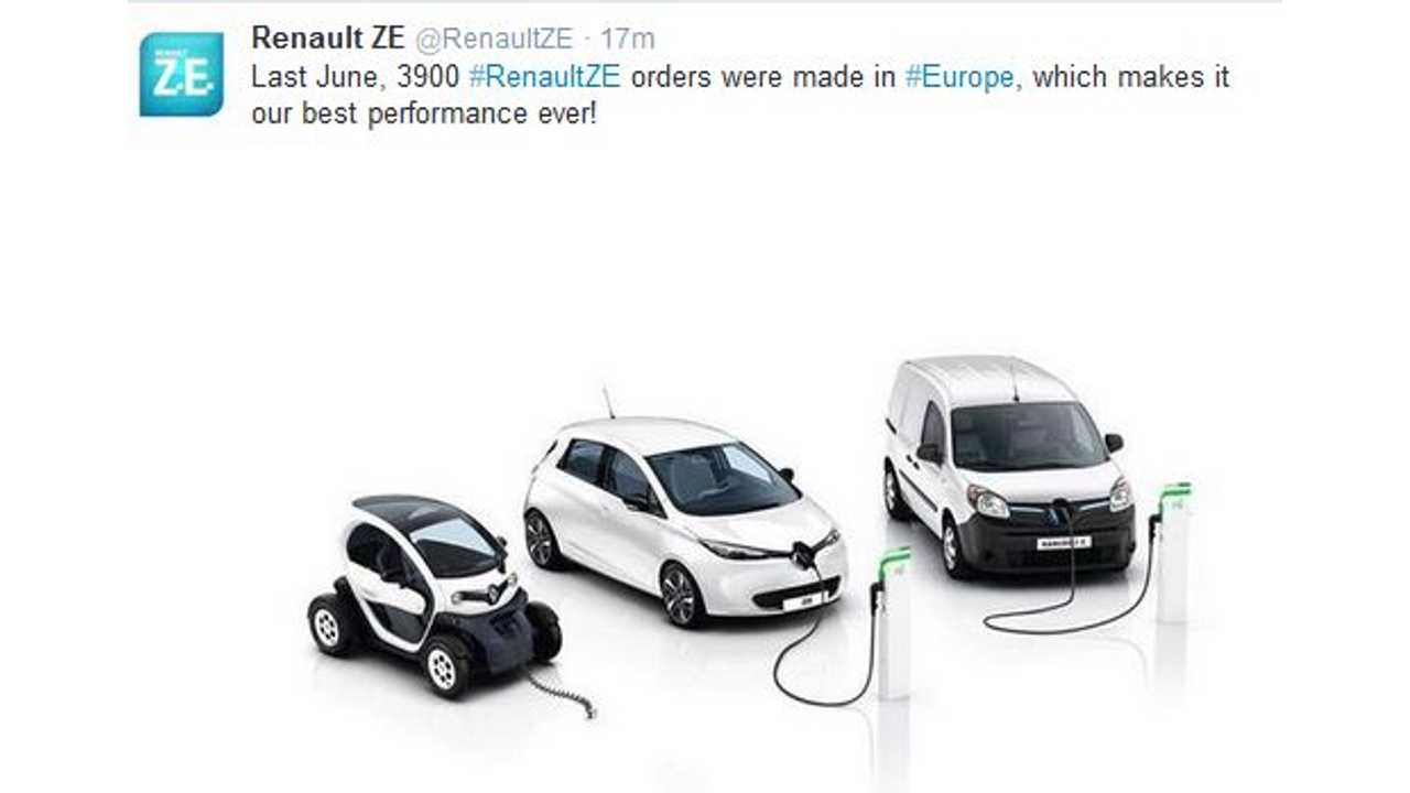 Renault: In June, 3,900 Renault Electric Cars Were Sold