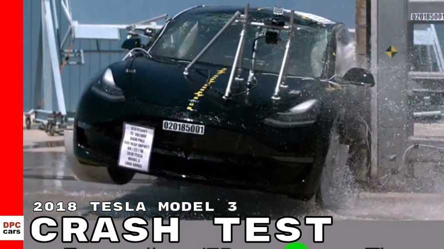 Watch Slo-Mo Video Of Tesla Model 3 Crash Test: Plus Bolt Comparison