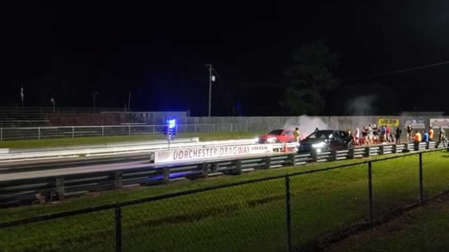 Watch Tesla Model X P100D Destroy Dodge Hellcat 1/8-Mile Drag Strip