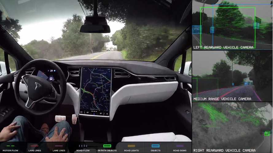 Tesla Releases Self-Driving Demonstration With Recognition Feed - Video