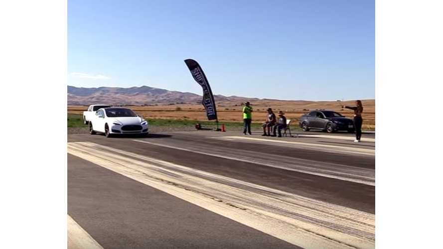 Tesla Model S 70D Versus Lexus IS-F - Drag Race Video