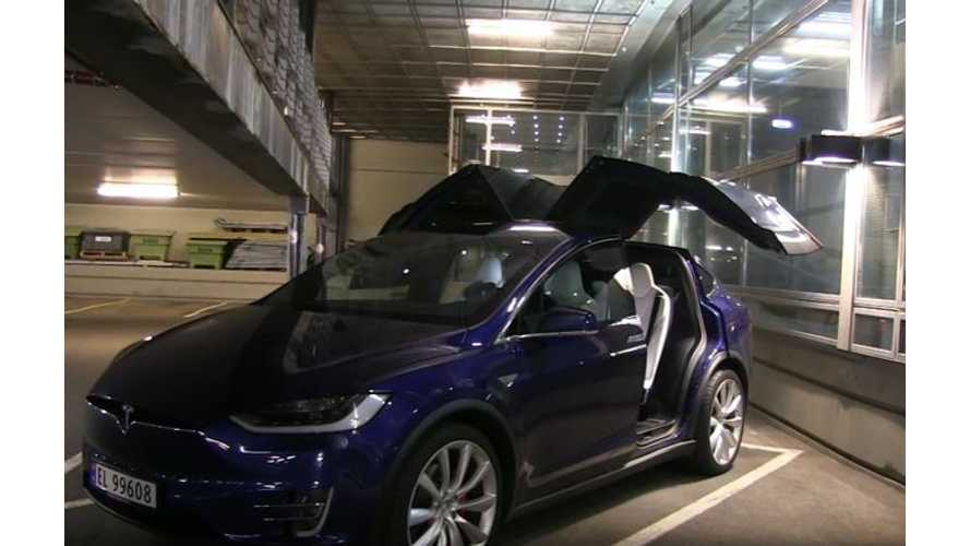 Tesla Model X Falcon Wing Door Opening In Low Ceiling Parking Garage - Video