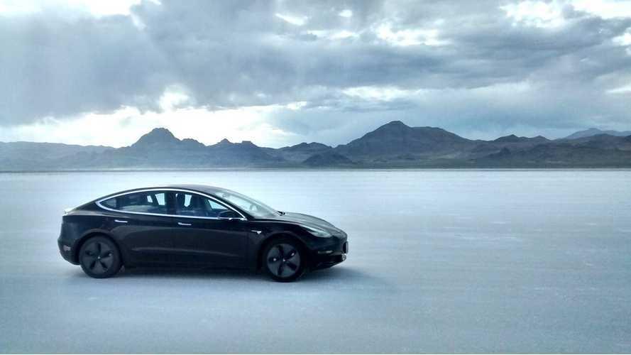 Watch Tesla Model 3 Tear Up The Salt Flats