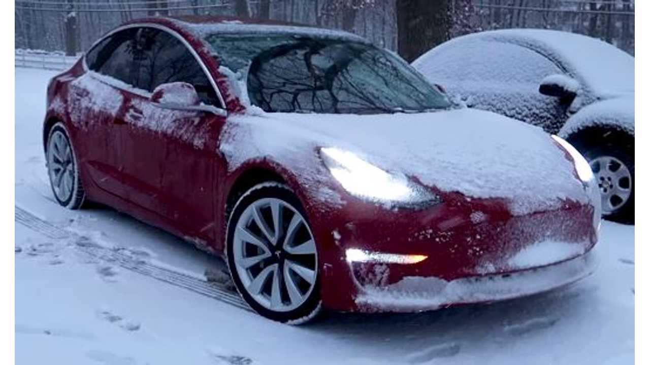 Driving A Tesla Model 3 In The Snow - Video