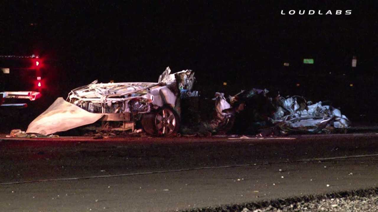 Scene From Tesla Model S, Toyota Corolla Wreck