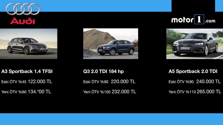 ÖTV'den etkilnen AUDI modelleri