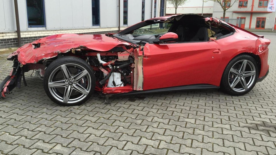 Heavily crashed Ferrari F12 Berlinetta is a €77,000 pile of junk