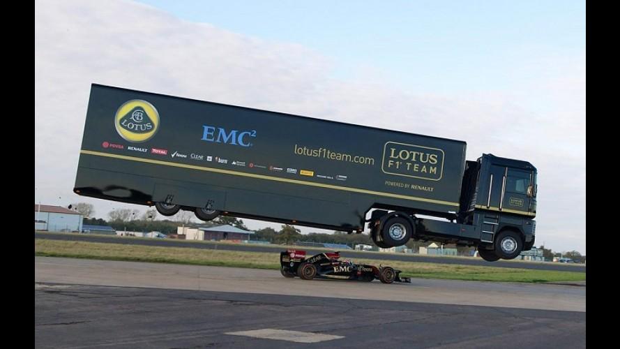 Vídeo: caminhão Renault salta sobre carro de F-1 e entra para o Guinness