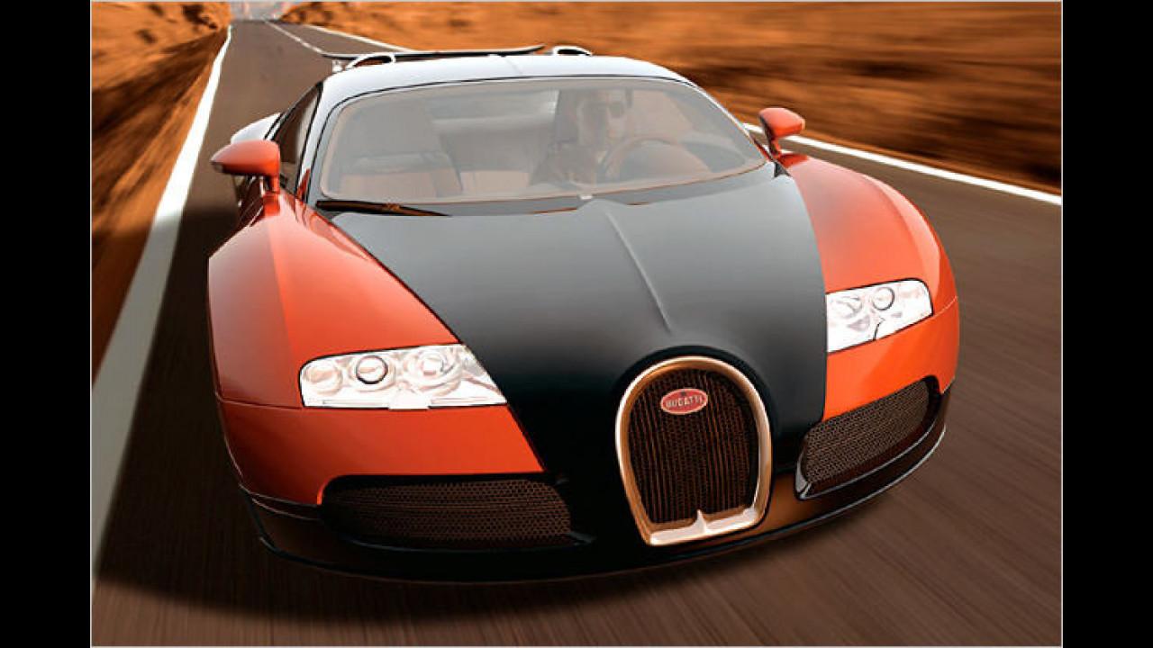 Im Bugatti Veyron steckt sozusagen ein doppelter VR-Motor – man kann den 16-Zylinder aber auch als unechten W-Motor auffassen