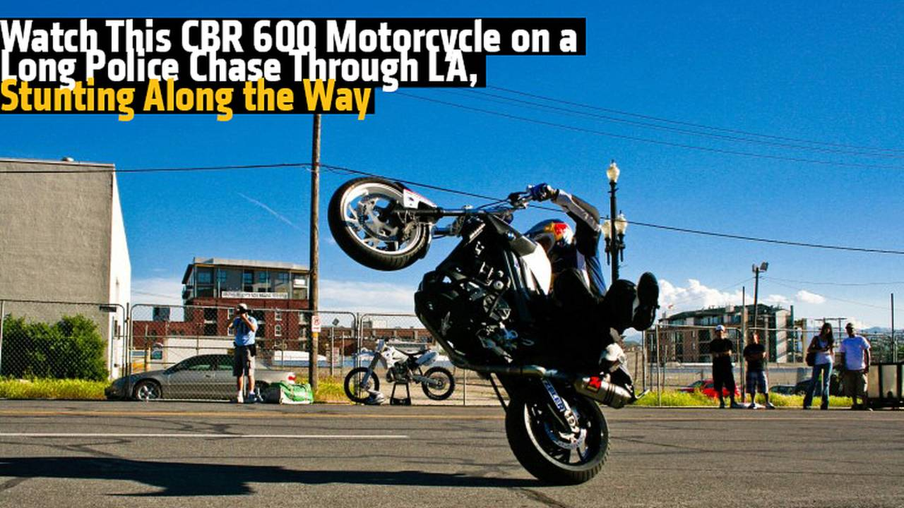 Watch This CBR 600 Motorcycle on a Long Police Chase Through LA, Stunting Along the Way