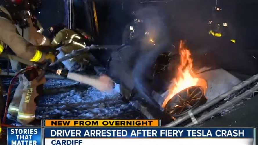 Tesla Driver Crashes Car, It Catches Fire, He Gets Arrested: Video