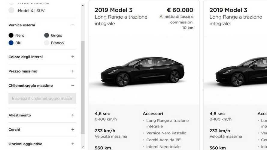 La Tesla Model 3 è anche in pronta consegna
