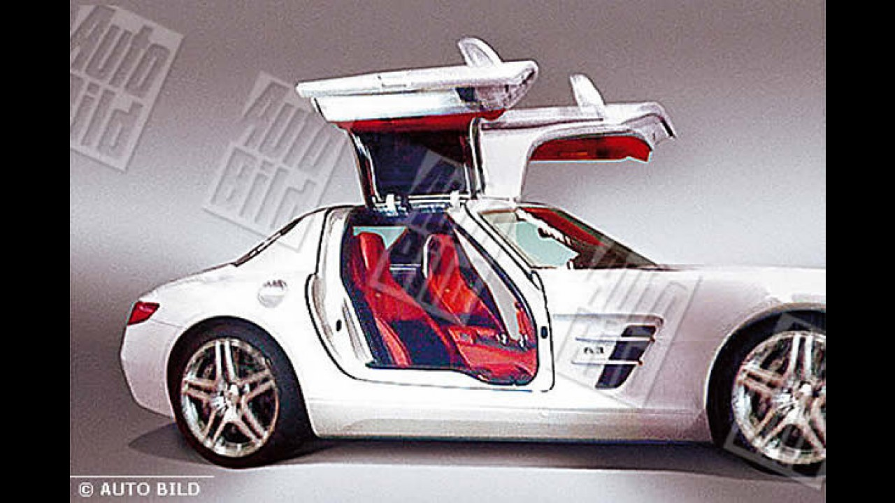 "Revista revela o novo Mercedes-Benz SLS AMG Gullwing e suas portas estilo ""asa de gaivota"""