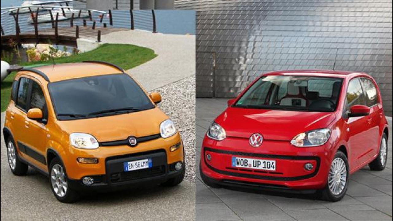 [Copertina] - Fiat Panda contro Volkswagen up! a metano: qual è la piccola più economica?