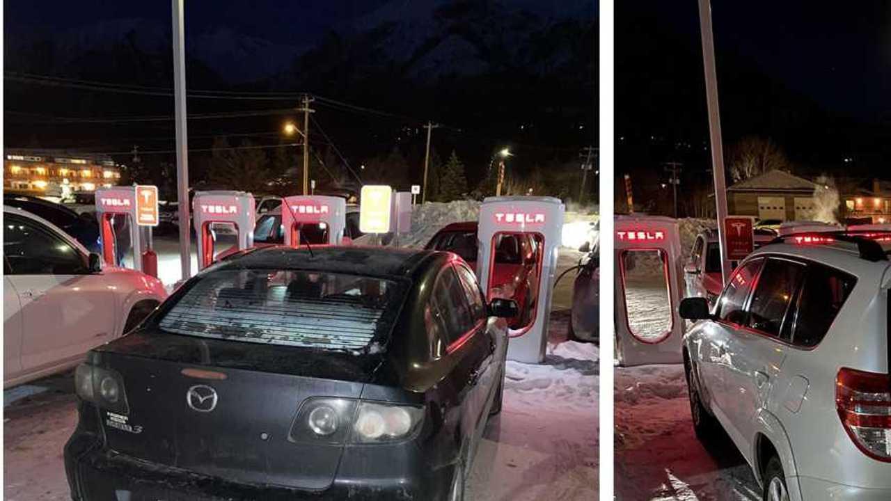Tesla Supercharging station blocked (source: Anshuman Chhabra)